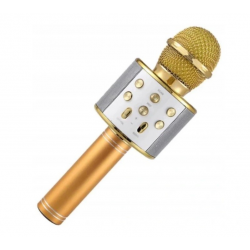 112198 MIKROFON KARAOKE Z NAGRYWANIEM USB ZŁOTY